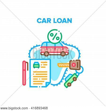 Car Loan Service Vector Icon Concept. Car Loan Service Investment Structure For Buy Under Credit Per