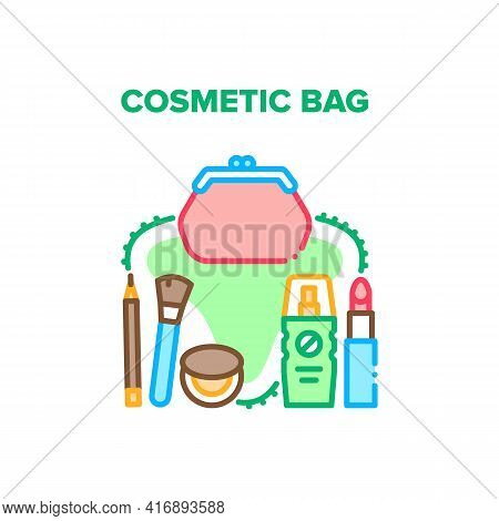 Cosmetic Bag Vector Icon Concept. Cosmetic Bag For Storaging Beauty Accessories, Lipstick And Lotion