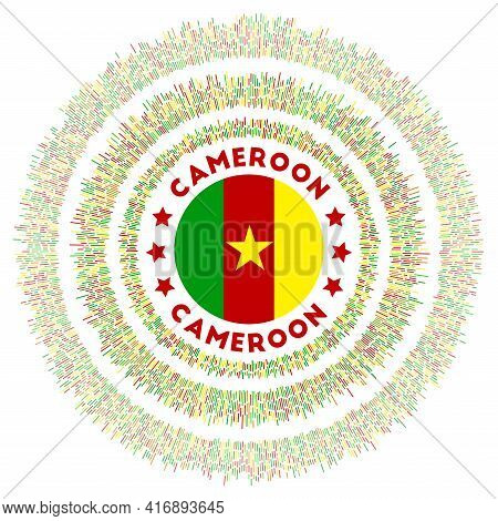 Cameroon Symbol. Radiant Country Flag With Colorful Rays. Shiny Sunburst With Cameroon Flag. Trendy