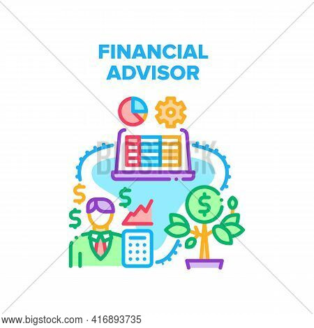 Financial Advisor Support Vector Icon Concept. Financial Advisor Advising And Consultation For Earni