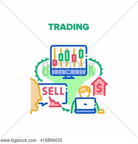 Trading Business Vector Icon Concept. Trading Business Occupation For Buying And Selling On Stock Ma