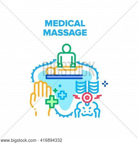 Medical Massage Vector Icon Concept. Medical Massage Make Masseur And Massaging Patient Hand Or Bone