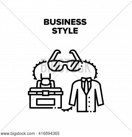 Business Style Vector Icon Concept. Costume And Sunglasses Business Style Of Manager. Businessman We