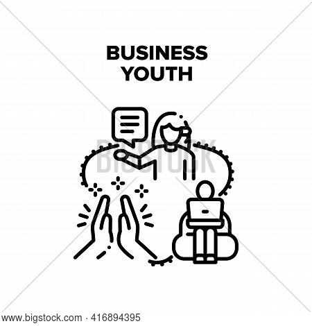 Business Youth Vector Icon Concept. Business Youth Employee Sitting In Chair And Working With Laptop
