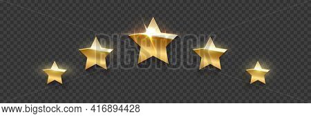 Five Golden Award Stars On Transparent Background. Gold Prize Elements. Champion Glory In Competitio