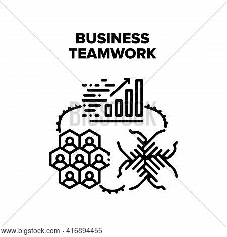 Business Teamwork In Office Vector Icon Concept. Business Teamwork In Office, Company Team Brainstor