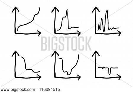 Business Data Market Elements Dot Bar Pie Charts Diagrams. Two Arrows Coordinates And Curve Line Up,