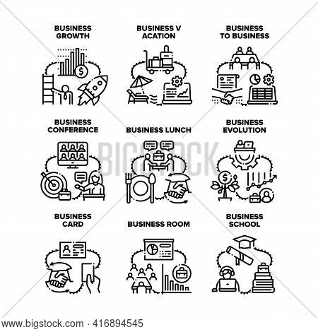 Business Evolution Set Icons Vector Illustrations. Business Conference And Businesspeople Eating Lun