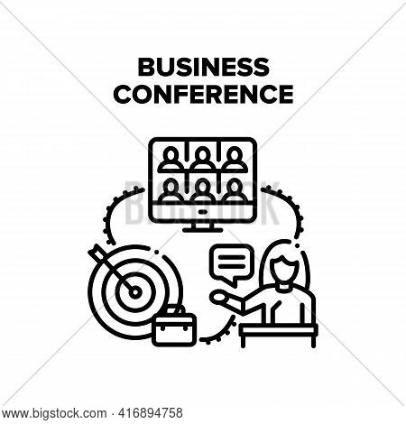 Business Conference Call Vector Icon Concept. Business Conference Call And Discussion With Partner O