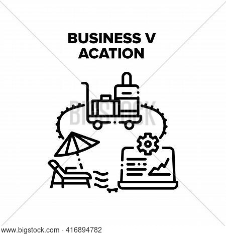 Business Vacation Travel Vector Icon Concept. Business Vacation Travel With Luggage On Airport Cart,