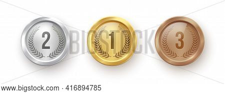 Gold, Silver, Bronze Medal Set. Champion Trophy Awards With Numbers And Laurel Vector Illustration.