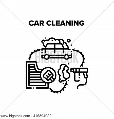 Car Cleaning Vector Icon Concept. Car Cleaning Service Washing Body With Spraying Equipment And Foam