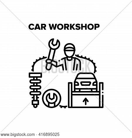 Car Workshop Vector Icon Concept. Repairman Holding Wrench Tool And Working In Car Workshop, Vehicle