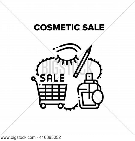 Cosmetic Sale Vector Icon Concept. Cart For Carrying Buying Aromatic And Health Treatment Products,