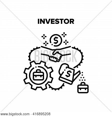 Investor Work Vector Icon Concept. Investor Work And Financial Management, Businessman Handshaking W