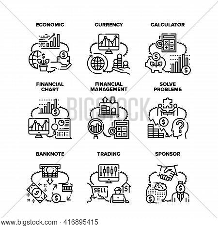Finance Economic Set Icons Vector Illustrations. Finance Money Currency And Calculator For Calculati