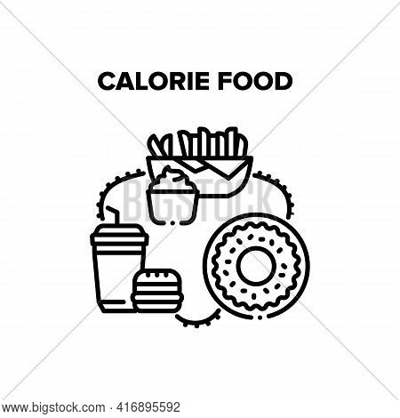 Calorie Food Vector Icon Concept. Fried Potato With Sauce Mayonnaise And Delicious Sweet Donut, Fatt