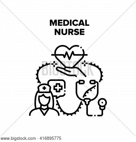 Medical Nurse Vector Icon Concept. Medical Nurse Carrying And Examining Patient Heart Beat Pressure