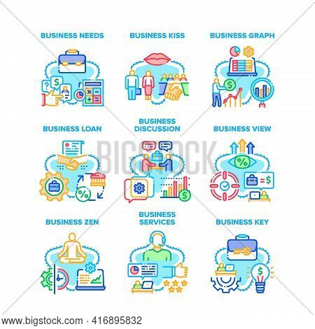Business Service Set Icons Vector Illustrations. Business View And Discussion, Graph And Key, Needs