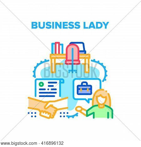 Business Lady Vector Icon Concept. Business Lady Handshaking With Partner After Successful Deal And