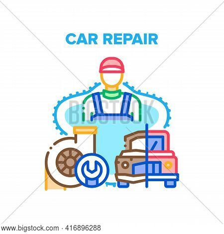 Car Repair Work Vector Icon Concept. Car Repair Service Worker Restoration Damaged Old Vehicle Or Fi