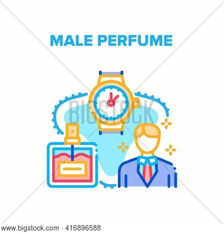 Male Perfume Vector Icon Concept. Aromatic Male Perfume And Watch Stylish Accessories. Businessman F