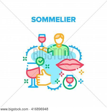 Sommelier Job Vector Icon Concept. Sommelier Sniffing Smell And Tasting Wine. Professional Examining