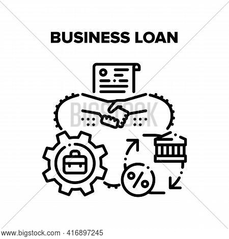 Business Loan Vector Icon Concept. Business Loan For Start Startup, Processing In Financial Structur