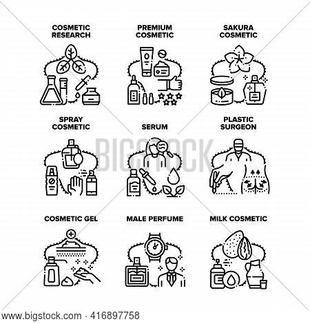 Cosmetic Research Set Icons Vector Illustrations. Serum And Gel, Male Perfume Spray And Aromatic Lot