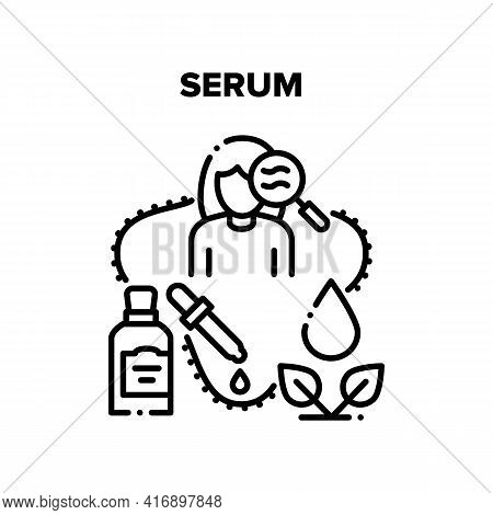 Serum Cosmetic Vector Icon Concept. Natural Serum Cosmetic And Essential Oil Prepared From Bio Ingre