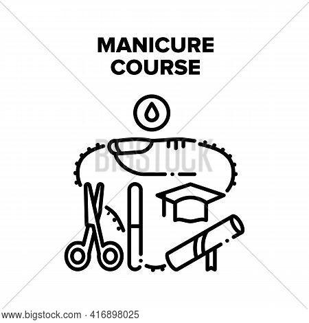 Manicure Course Vector Icon Concept. Manicure Course For Educate Working With Beauty Salon Accessori
