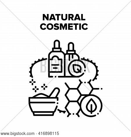 Natural Cosmetic Vector Icon Concept. Essential Oil And Powder Natural Cosmetic, Nature Ingredients
