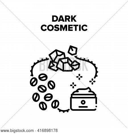 Dark Cosmetic Vector Icon Concept. Dark Cosmetic Prepared From Coffee Beans Or Black Chocolate, Natu