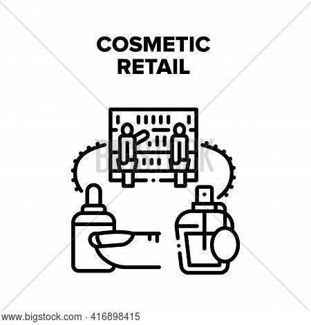 Cosmetic Retail Vector Icon Concept. Women Choosing Beauty Nail Polish And Aromatic Perfume Accessor