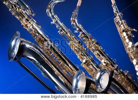 Set Of Four Saxophones