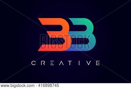 Bb Logo Letter Design With Modern Creative Concept And Orange Blue Colors Vector Illustration