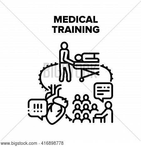 Medical Training Vector Icon Concept. Medical Training For Emergency And First Aid, Heart Health Exa