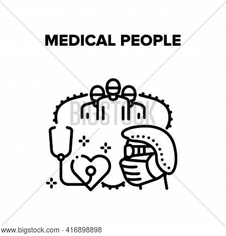 Medical People Vector Icon Concept. Doctor And Nurse Hospital Team Medical People. Surgeon Clinic Wo