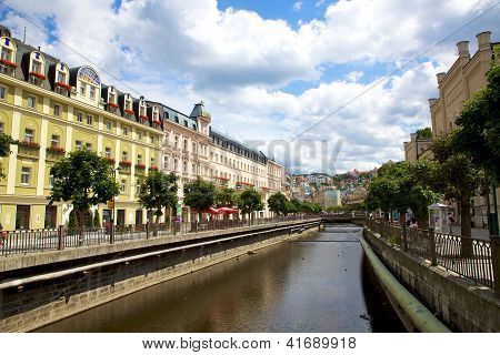 Karlovy Vary, Cszech Republic - July 19: City Landscape And River Tepla In Karlovy Vary.