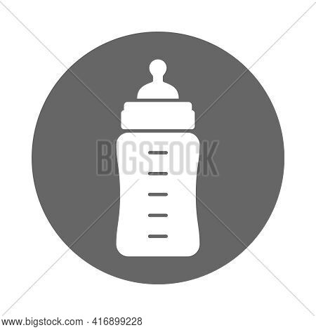 Baby Feeding Bottle Icon. Baby Milk Bottle Sign In The Circle Isolated On White Background. Vector I