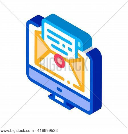 Accept Incoming Mail Administrator Color Icon Vector. Isometric Accept Incoming Mail Administrator S
