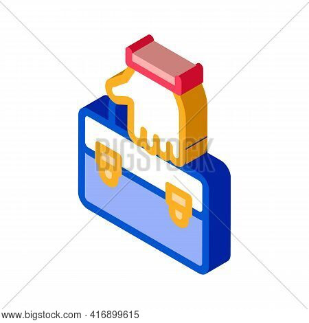 Holding Case Administrator Color Icon Vector. Isometric Holding Case Administrator Sign. Color Isola