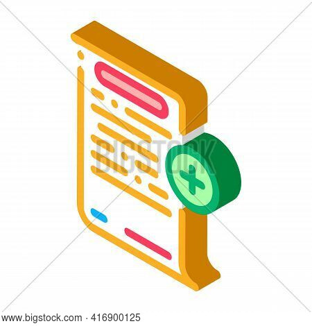 Adding Financial Document For Audit Color Icon Vector. Isometric Adding Financial Document For Audit