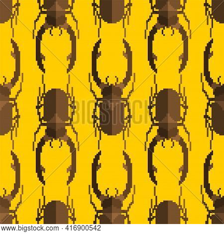 Stag Beetle Pixel Art Pattern Seamless. Beetle 8 Bit Background. Baby Fabric Ornament