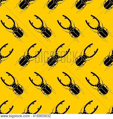 Stag Beetle Pattern Seamless. Beetle With Large Mandibles Background. Baby Fabric Ornament