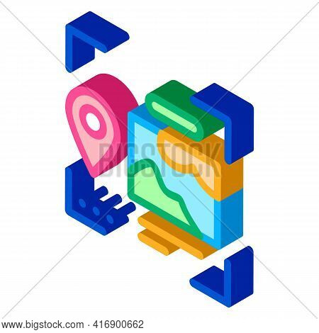 Image And Gps Location For Identity Color Icon Vector. Isometric Image And Gps Location For Identity
