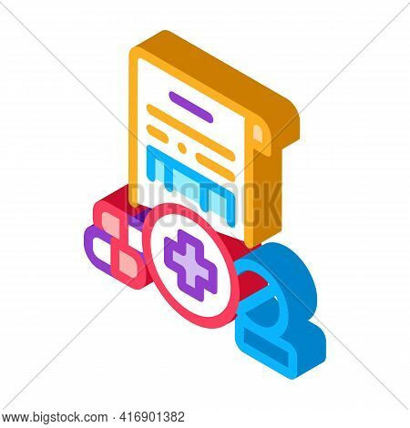 Pharmaceutical License Color Icon Vector. Isometric Pharmaceutical License Sign. Color Isolated Symb