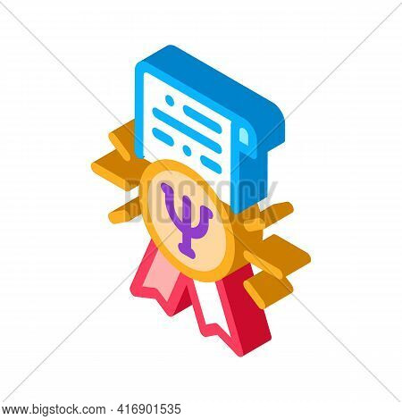 Psychological Counseling License Color Icon Vector. Isometric Psychological Counseling License Sign.