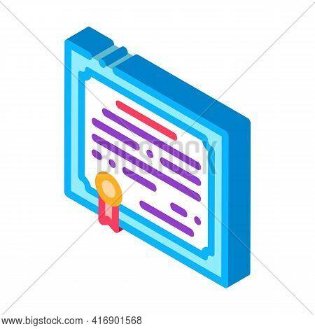 Certificate License Color Icon Vector. Isometric Certificate License Sign. Color Isolated Symbol Ill