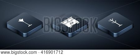 Set Isometric Floor Lamp, Coat Stand And Furniture Nightstand Icon. Vector